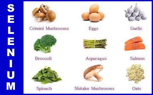 غذاهای سلنیمداری که توصیه میشوند: قارچ، تخم مرغ، سیر، کلم بروکلی، مارچوبه، ماهی (قزل آلا)، اسفناج و جو
