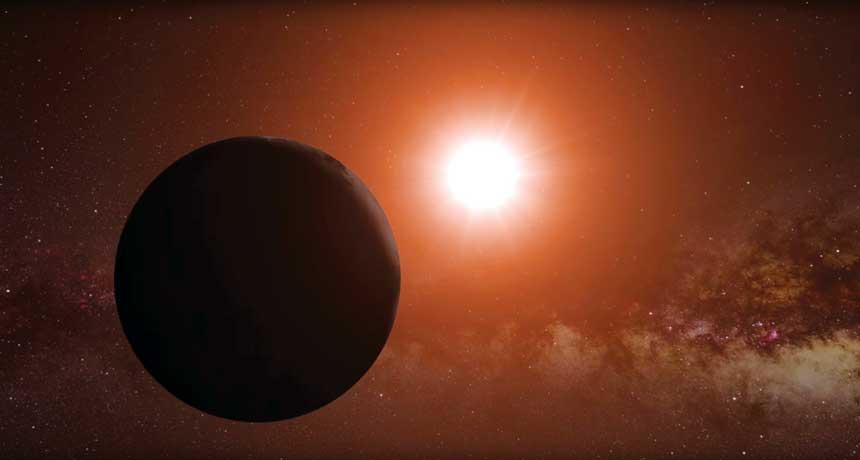 Hey Neighbor پروکسیما b به همراه ستارهاش در این تصویر مشاهده میشود (تصویر شماتیک است). دانشمندان تخمین میزنند که این سیاره ۱/۳ برابر نسبت به زمین بزرگتر است.
