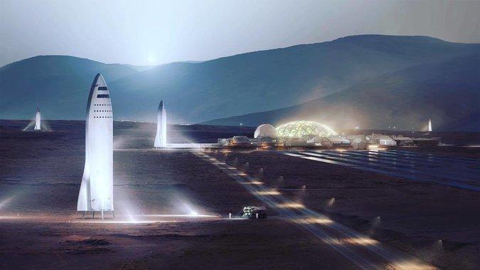 """ایلان ماسک با انتشار این تصویر در اینستاگرامش چنین نوشت: """"شهر مریخ در برابر زمین؛ آسمان سپیدهدم در مریخ آبی و آسمان روز، سرخ است."""""""