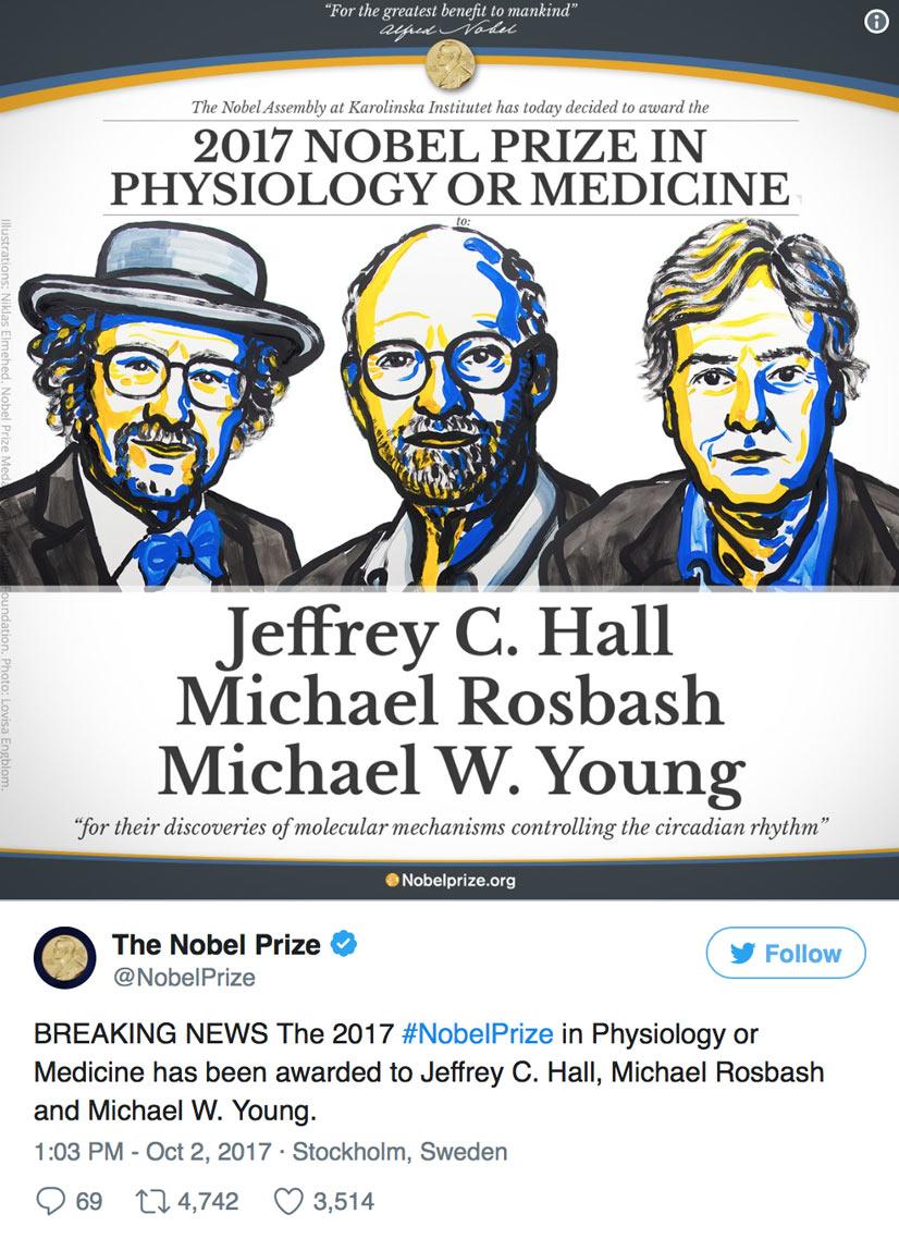 برندگان جایزه نوبل پزشکی سال ۲۰۱۷