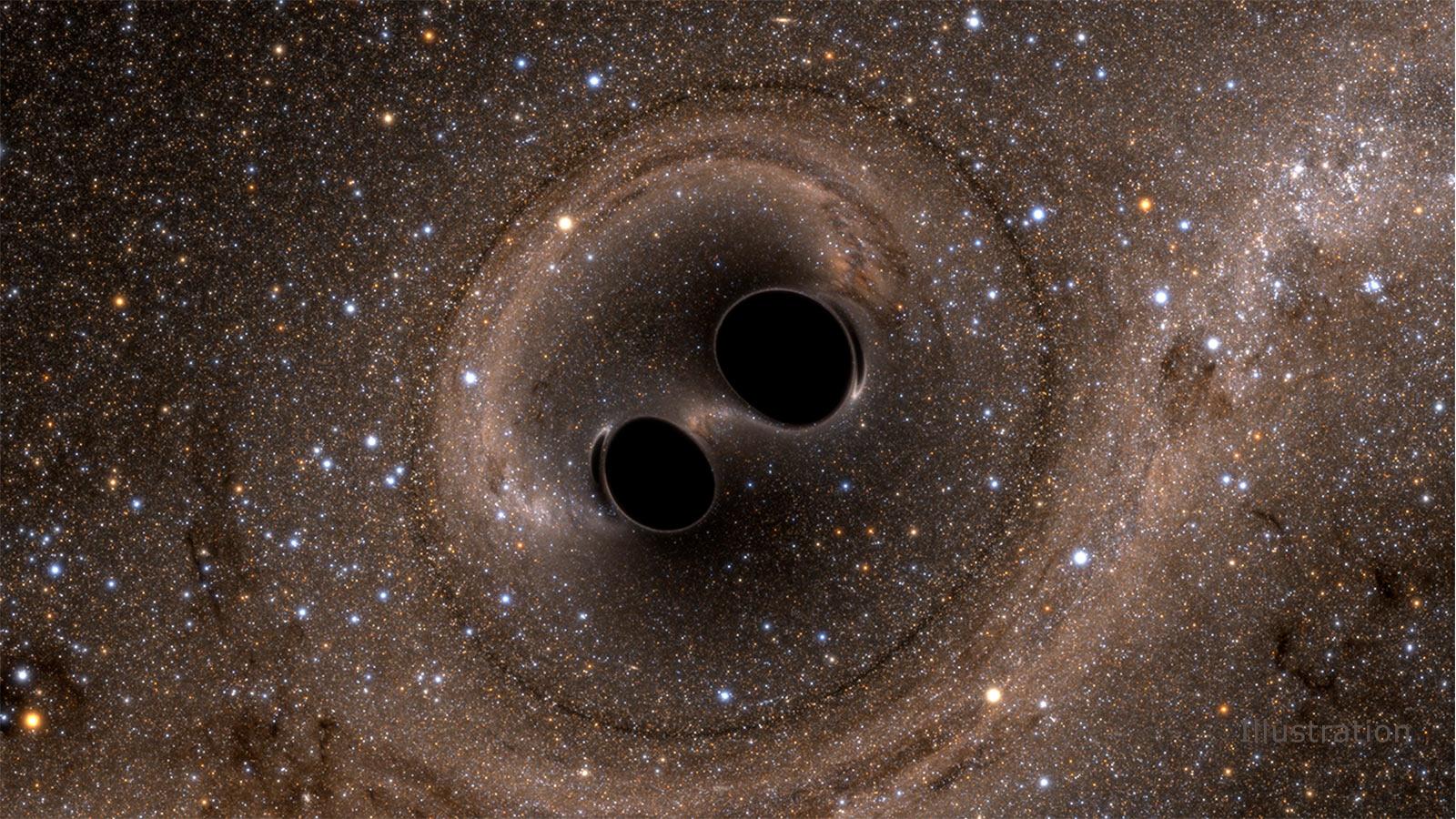 این تصویر کامپیوتری برخورد دو سیاهچاله را نشان میدهد که موجب ایجاد امواج گرانشی میشود.