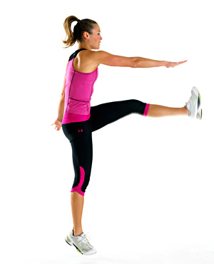 Standing alternating toe touches